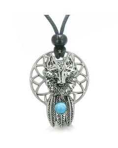 Dreamcatcher Courage Wolf Feathers Magic Spiritual Moon Powers Turquoise Gem Pendant Cord Necklace