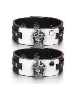 Howling Wolf Dreamcatcher Couple White Simulated Cats Eye Simulated Onyx Brown Leather Bracelets