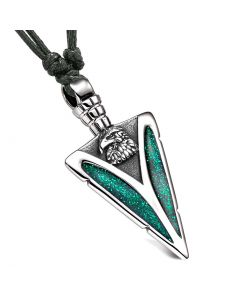 Arrowhead American Eagle Head Brave Powers Protection Amulet Sparkling Green Pendant Adjustable Necklace