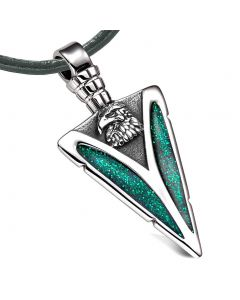 Arrowhead American Eagle Head Brave Powers Protection Amulet Sparkling Green Pendant Leather Necklace