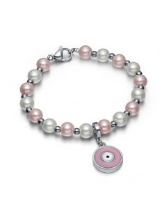 Amulet Positive Powers Simulated Pearl White Cute Pink Evil Eye Protection Magic Energy Bracelet