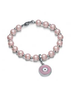Amulet Positive Powers Simulated Pearl Cute Pink White Evil Eye Protection Magic Energy Bracelet
