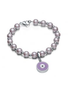 Amulet Positive Powers Simulated Pearl Cute Purple White Evil Eye ProtectiMagic Energy Bracelet