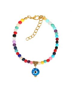 Evil Eye Protection Amulet Magical Powers Gold-Tone Colorful Dangling Blue Eye Lucky Charm Bracelet