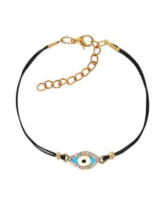 Evil Eye Protection Amulet Magical Power Gold-Tone Sparkling White Crystal Sky Blue Cord Bracelet