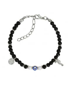 Evil Eye Protection Amulet Royal Black White Accents Sea Horse Magical Powers Lucky Charm Bracelet