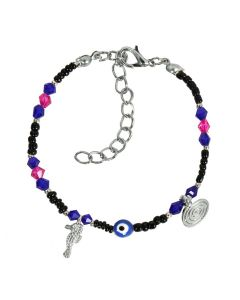 Evil Eye Protection Amulet Blue Pink Black Accents Sea Horse Magical Symbols Lucky Charms Bracelet