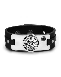 All Seeing and Feeling Eye of Horus Magical Amulet Black Simulated Onyx Adjustable Leather Bracelet