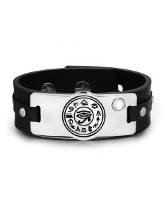 All Seeing and Feeling Eye of Horus Amulet White Simulated Cats Eye Adjustable Leather Bracelet
