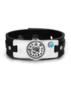 All Seeing and Feeling Eye of Horus Magical Amulet Simulated Turquoise Adjustable Leather Bracelet