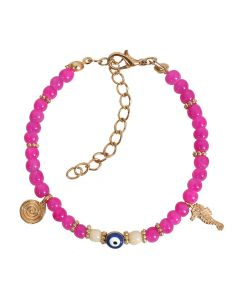 Evil Eye Protection Amulet Royal Pink White Accents Sea Horse Magical Symbol Lucky Charms Bracelet