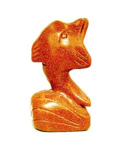 Good Luck Talisman Goldstone Dolphin Gemstone Carving