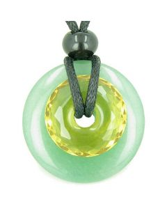 Amulet Individual Magic Circles Double Lucky Donuts Aventurine Faceted Citrine Pendant Necklace