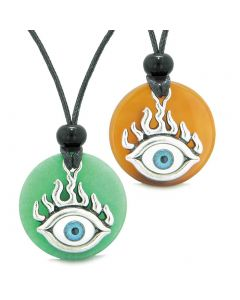 Cool Evil Eye Protection Flames Love Couples or BFF Set Carnelian Green Quartz Magic Powers Necklaces