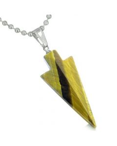 Amulet Lucky Charm Arrowhead Totem in Tiger Eye Gemstone Healing Powers Pendant Necklace