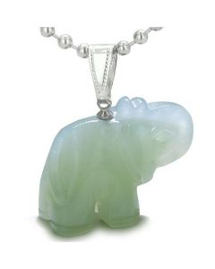 Amulet Lucky Charm Elephant Totem Green Jade Gemstone Good Luck Protection Powers Pendant Necklace