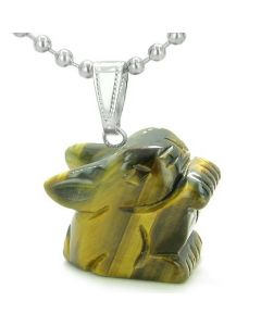 Amulet Lucky Charm Rabbit Totem Tiger Eye Gemstone Good Luck Protection Powers Pendant Necklace