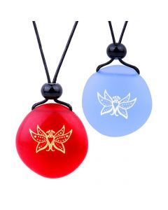 Frosted Sea Glass Stones Cute Magic Butterfly Love Couples BFF Set Amulets Sky Blue Red Necklaces