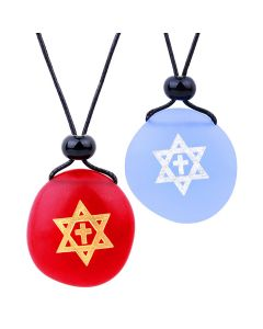 Frosted Sea Glass Stones Star of David and Cross Love Couples BFF Set Amulets Sky Blue Red Necklaces