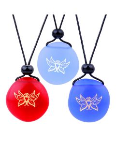 Frosted Sea Glass Stones Cute Magic Butterfly Best Friends BFF Set Amulets Royal Sky Blue Red Necklaces