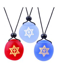 Frosted Sea Glass Stones Star of David and Cross Best Friends BFF Set Amulet Royal Sky Blue Red Necklaces