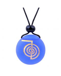 Amulet Frosted Sea Glass Stone Choku Rei Reiki Energy Good Luck Powers Royal Blue Adjustable Necklace