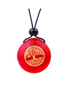 Amulet Frosted Sea Glass Stone Celtic Magic Tree of Life Good Luck Powers Royal Red Adjustable Necklace