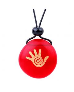 Amulet Frosted Sea Glass Stone Buddha Magic Energy Hand Good Luck Powers Royal Red Adjustable Necklace