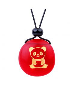 Amulet Frosted Sea Glass Stone Cute Lucky Baby Panda Bear Good Luck Powers Royal Red Adjustable Necklace