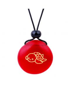 Amulet Frosted Sea Glass Stone Adorable Lucky Baby Turtle Good Luck Powers Royal Red Adjustable Necklace