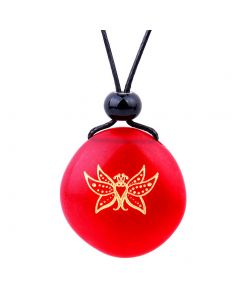 Amulet Frosted Sea Glass Stone Cute Magic Butterfly Good Luck Powers Royal Red Adjustable Necklace