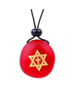 Amulet Frosted Sea Glass Stone Star of David and Cross Good Luck Powers Royal Red Adjustable Necklace