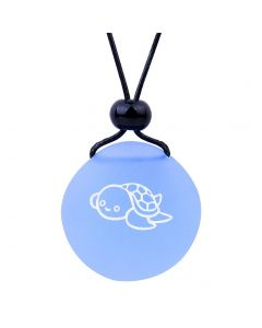 Amulet Frosted Sea Glass Stone Adorable Lucky Baby Turtle Good Luck Powers Sky Blue Adjustable Necklace