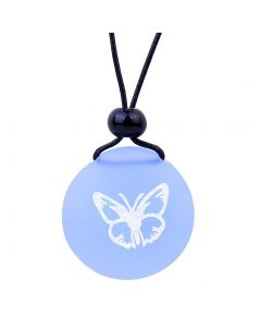 Amulet Frosted Sea Glass Stone Adorable Lucky Butterfly Good Luck Powers Sky Blue Adjustable Necklace