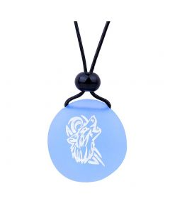 Amulet Frosted Sea Glass Stone Celtic Energy Howling Wolf Good Luck Powers Sky Blue Adjustable Necklace
