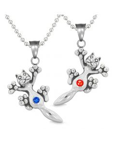 Amulets Cute Kitty Cat Love Couples or Best Friends Set Red Blue Sparkling Crystals Necklaces