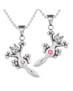 Amulets Cute Kitty Cat Love Couples or Best Friends Set Pink Rainbow Sparkling Crystals Necklaces