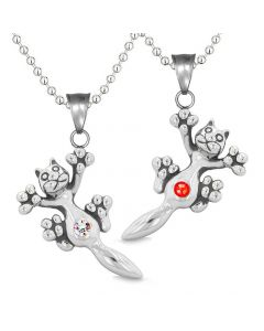 Amulets Cute Kitty Cat Love Couples or Best Friends Set Red Rainbow Sparkling Crystals Necklaces