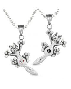 Amulets Cute Kitty Cat Love Couples or Best Friends Set Black Rainbow Sparkling Crystals Necklaces
