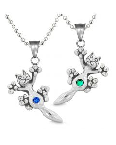 Amulets Cute Kitty Cat Love Couples or Best Friends Set Green Blue Sparkling Crystals Necklaces