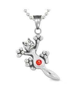 Cute Fun Kitty Cat Lucky Charm Belly Button Royal Red Sparkling Crystals Amulet Pendant Necklace