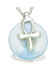 All Powers of Life Ankh Egyptian Amulet Opalite Good Luck Donut Pendant Necklace