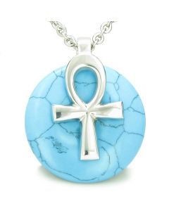 All Powers of Life Ankh Egyptian Amulet Turquoise Good Luck Donut Pendant Necklace