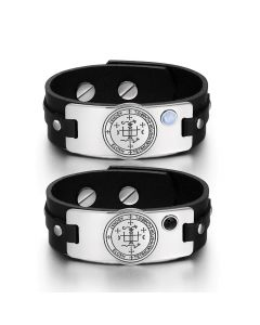 Archangel Gabriel Sigil Love Couples Blue Simulated Cats Eye Simulated Onyx Black Leather Bracelets