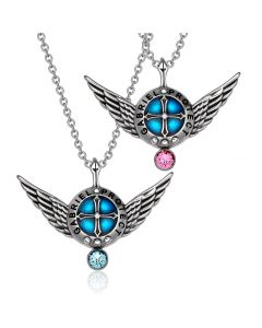 Angel Wings Archangel Gabriel Love Couples or Best Friends Set Shield Amulet Pendant Necklaces