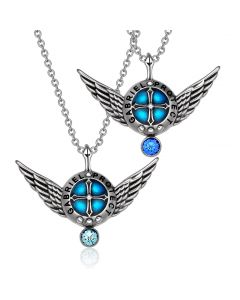 Angel Wings Archangel Gabriel Love Couples or Best Friends Sky Blue Royal Blue Pendant Necklaces