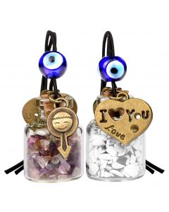 Love Couple I Love You Heart Small Car Charms or Home Decor Bottles Fluorite White Howlite Amulets