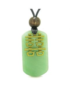 Double Happiness Feng Shui Amulet Fortune Magic Powers Green Quartz Tag Pendant Necklace