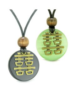 Double Happiness Love Couples Yin Yang Fortune Amulets Agate Green Cats Eye Medallion Necklaces
