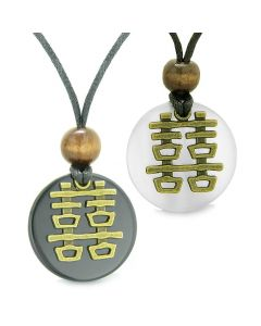 Double Happiness Love Couples Yin Yang Fortune Amulets Agate White Cats Eye Medallion Necklaces